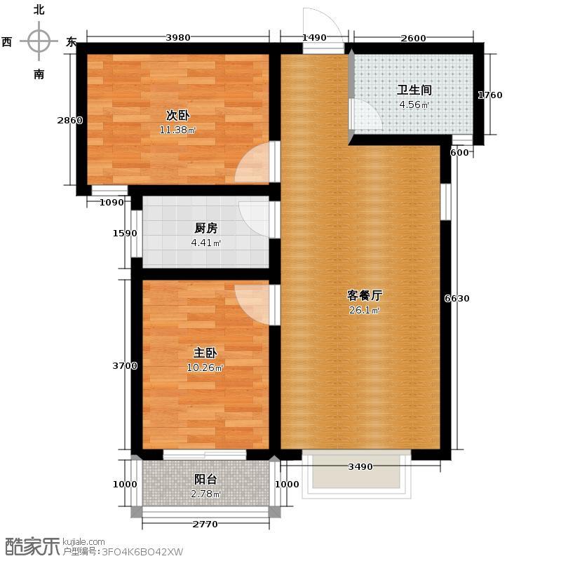 雍和慢城85.90㎡6/8号楼D户型2室2厅1卫