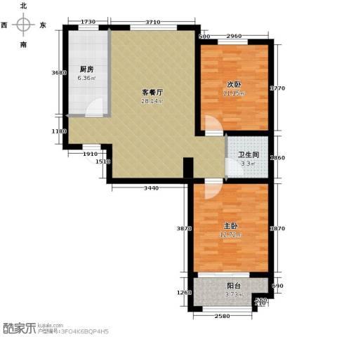 汇君城2室2厅1卫0厨94.00㎡户型图