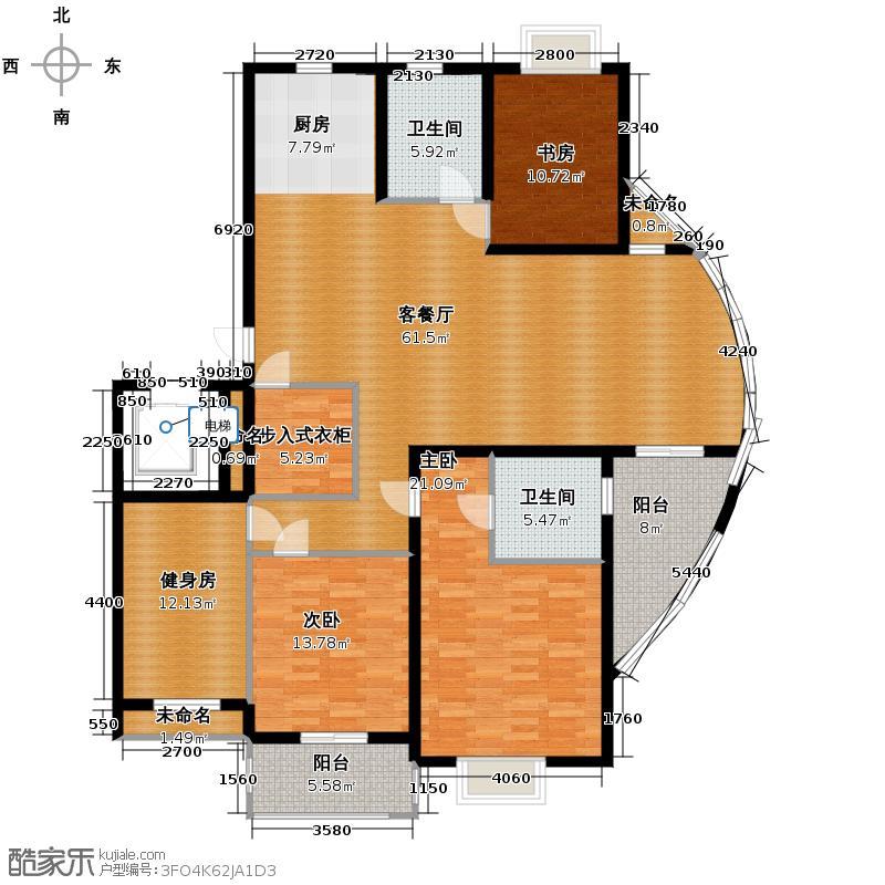 金海香滨湾183.00㎡户型3室1厅2卫