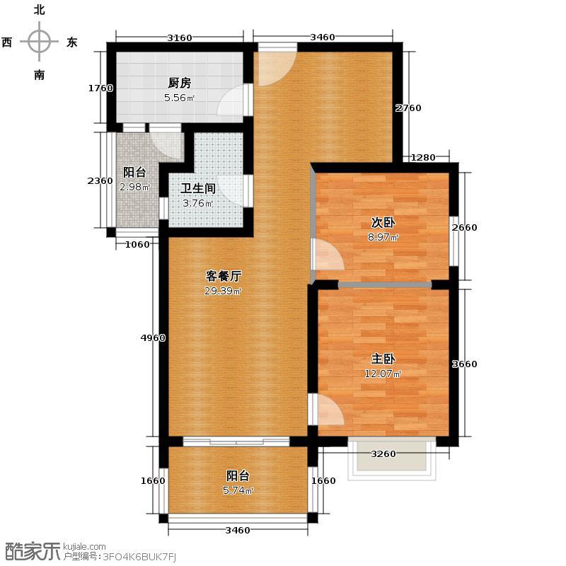 恒大御景半岛99.62㎡1号楼2单元两室户型2室2厅1卫