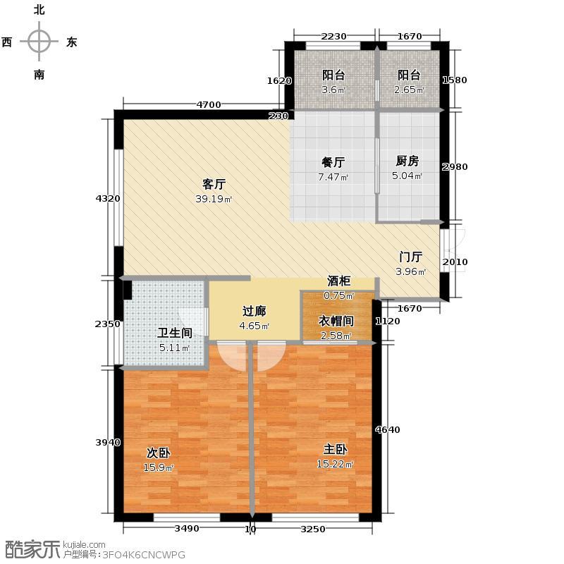 汇锦庄园125.00㎡G1户型2室2厅1卫