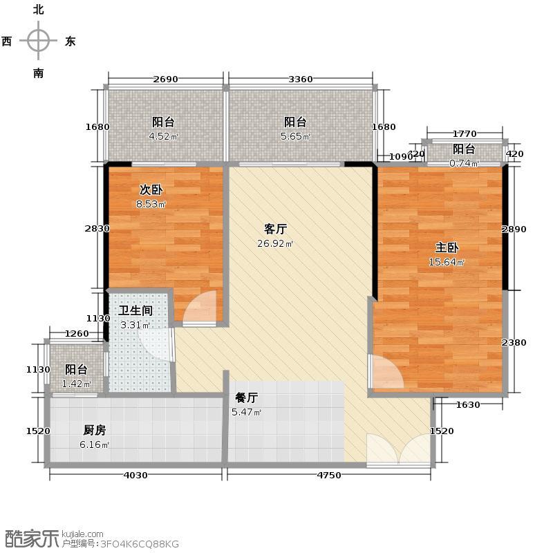 地铁金融城98.23㎡A3栋7-27层06单位户型2室2厅1卫