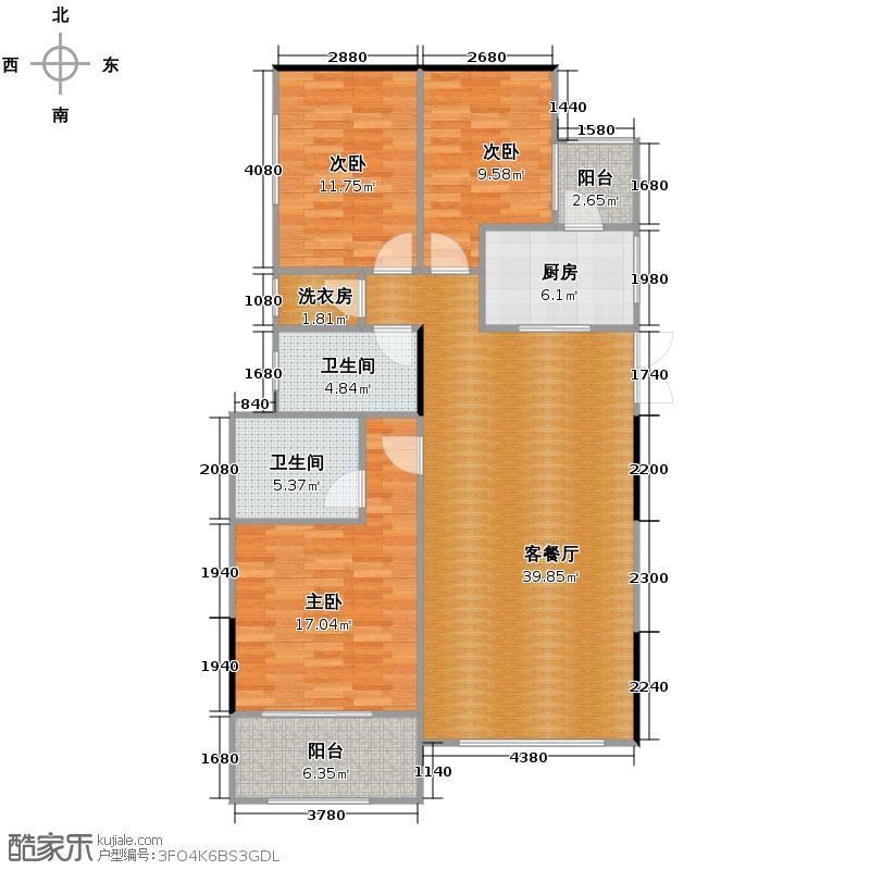 紫金东郡113.25㎡户型10室