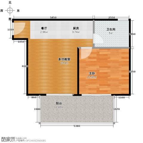 鸿坤・理想海岸1室2厅1卫0厨57.00㎡户型图