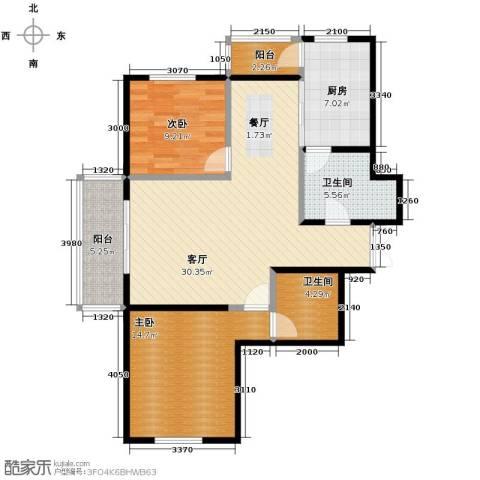 金域蓝城2室1厅2卫1厨78.63㎡户型图