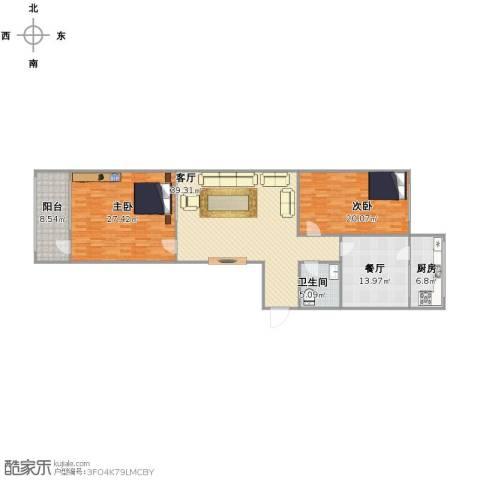 六合里小区2室2厅1卫1厨161.00㎡户型图