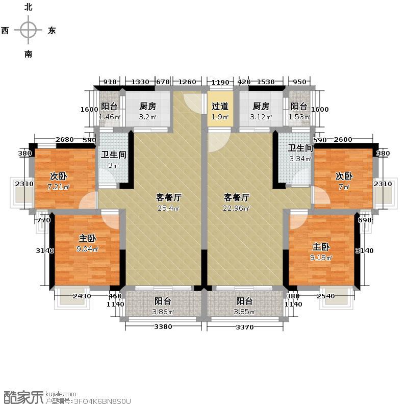 港宏世家75.00㎡H12座3-16层05-06户型2室2厅1卫