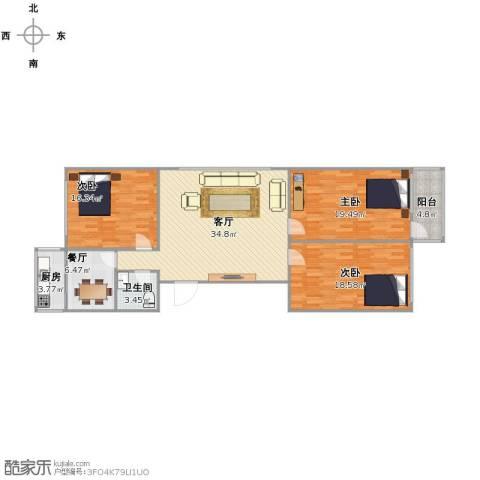 六合里小区3室2厅1卫1厨143.00㎡户型图