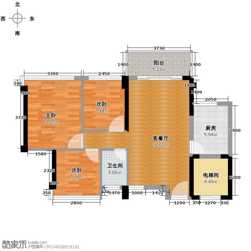 东海银湾86.00㎡10座04单位户型3室2厅1卫