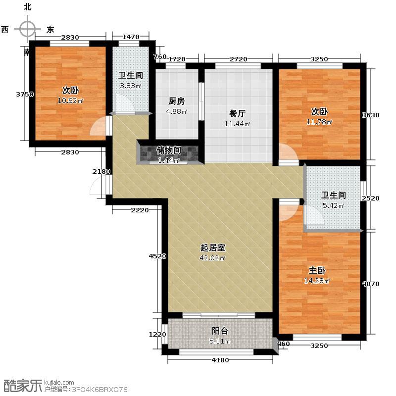汇君城135.98㎡F3号楼J-05户型3室2厅2卫
