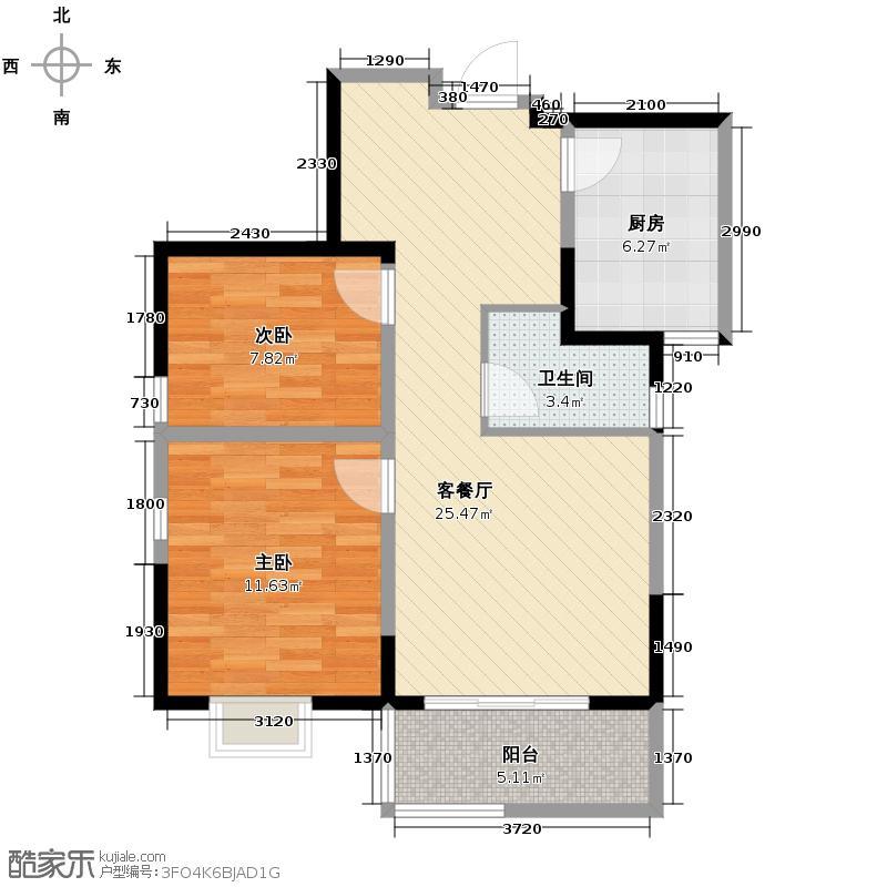 西岸国际花园79.00㎡B方正实用区域规划明确户型10室