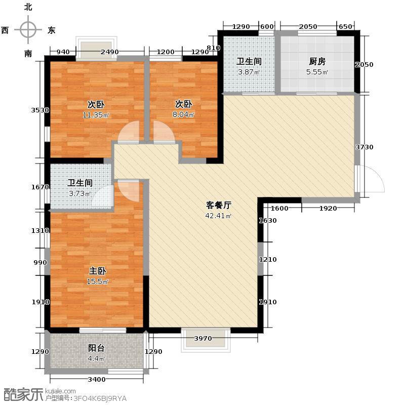 西岸国际花园130.00㎡在售西苑E干湿分离主卧独立卫生间户型3室2厅2卫