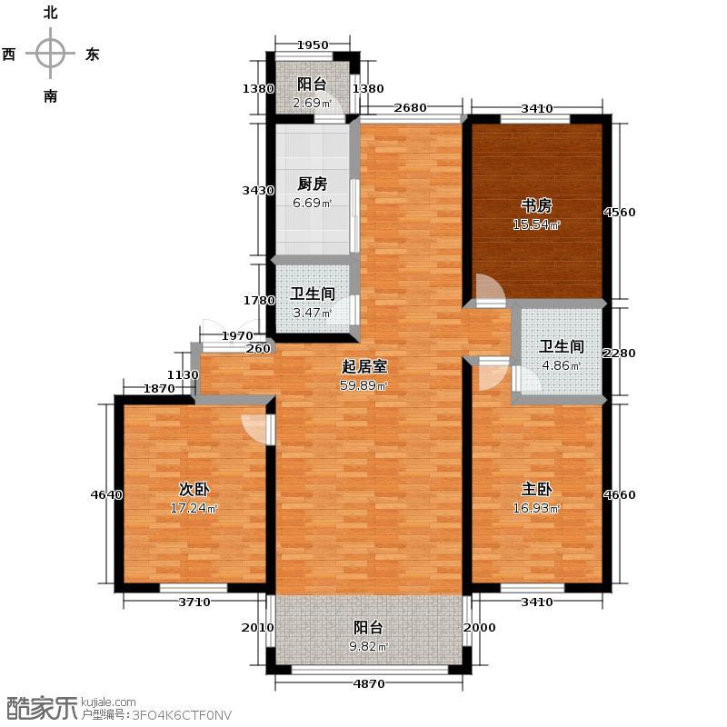 玉龙湾173.85㎡7栋2单元1号户型3室2厅2卫