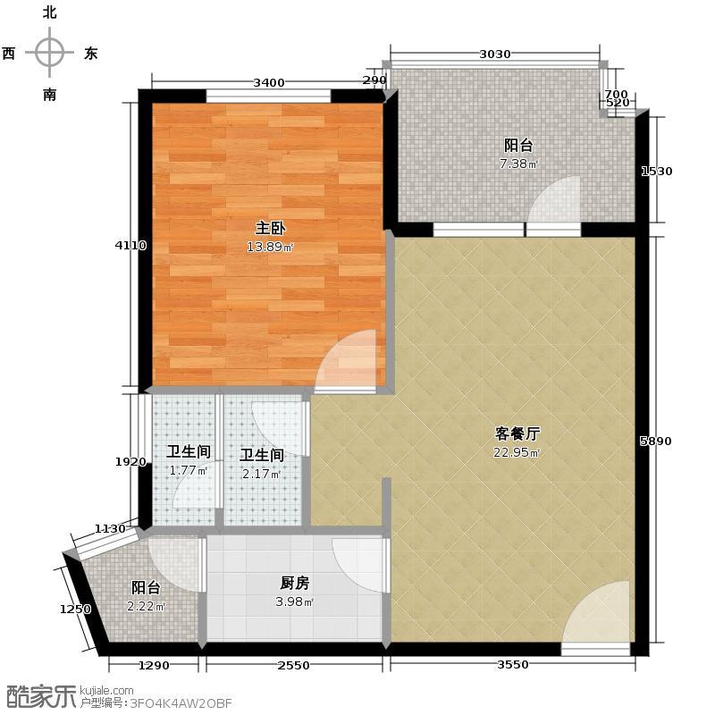 清平乐60.54㎡B5户型1室1厅2卫1厨