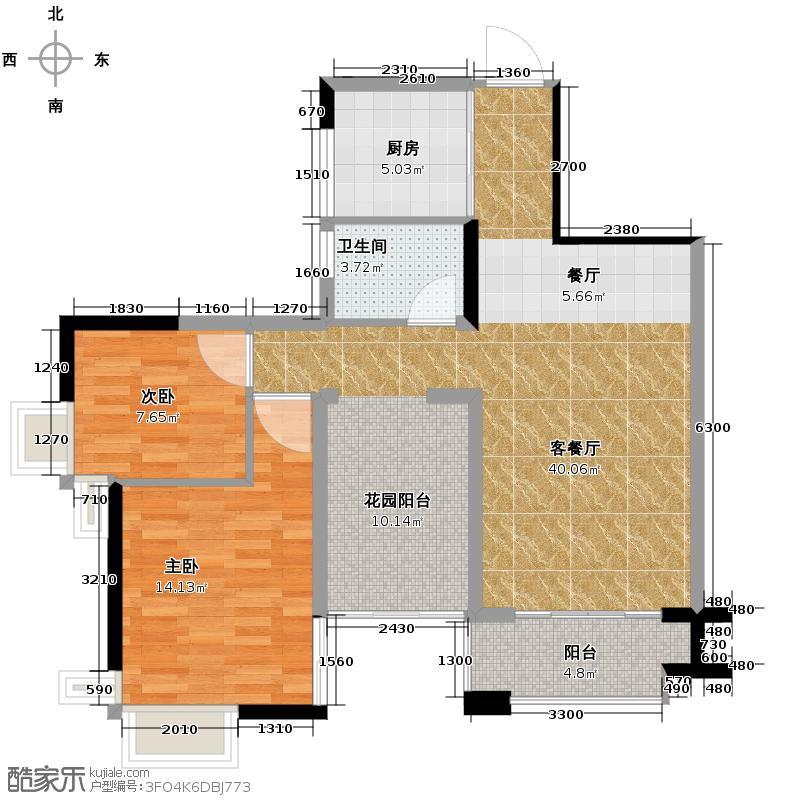 涛汇领御花园69.94㎡4座3-25层05单位户型3室2厅1卫