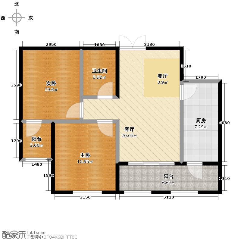金域蓝城49.18㎡二期G10两居户型2室1厅1卫1厨