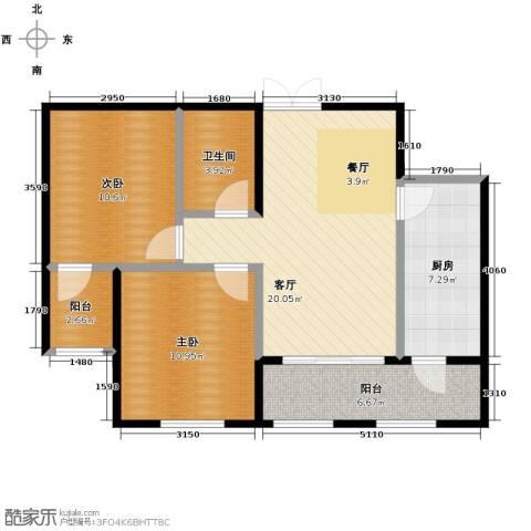 金域蓝城2室1厅1卫1厨62.14㎡户型图
