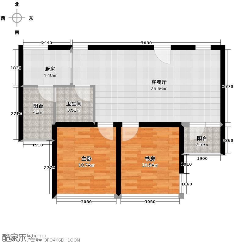 三亚棕榈滩65.00㎡C1户型1室2厅1卫