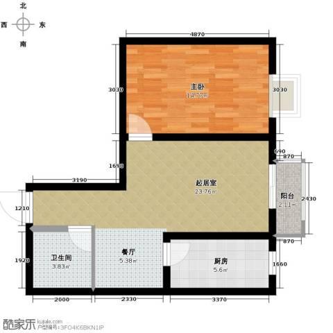 翰林观天下1室2厅1卫0厨65.00㎡户型图