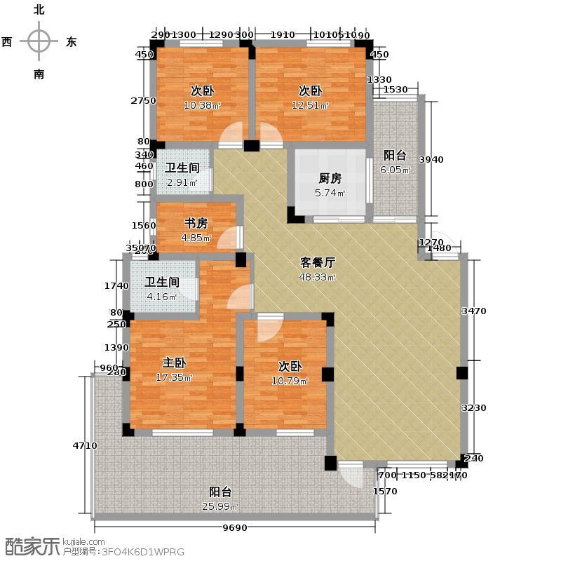 皇马花园141.00㎡H2户型5室1厅2卫1厨