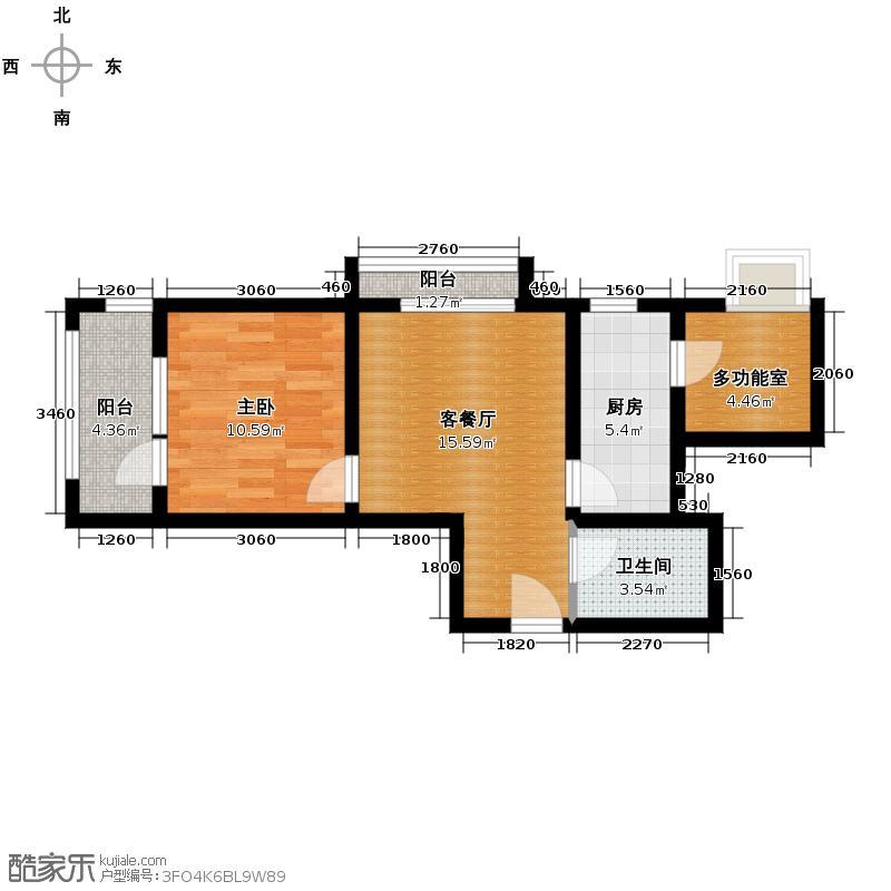 西溪诚园61.58㎡A1户型1室1厅1卫