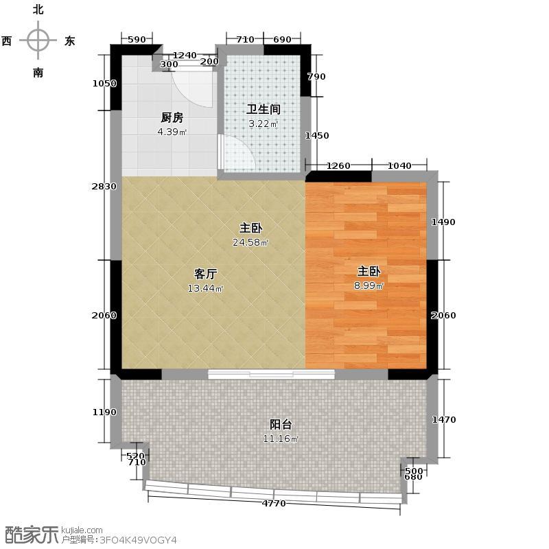 汇锦城47.70㎡东山绿景・波拉小城G6户型1室1卫