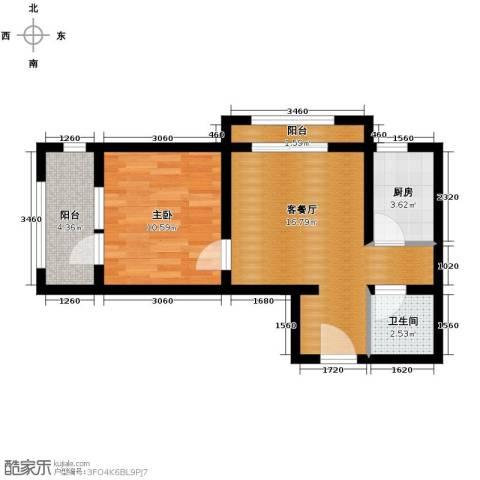 西溪诚园1室1厅1卫0厨58.00㎡户型图