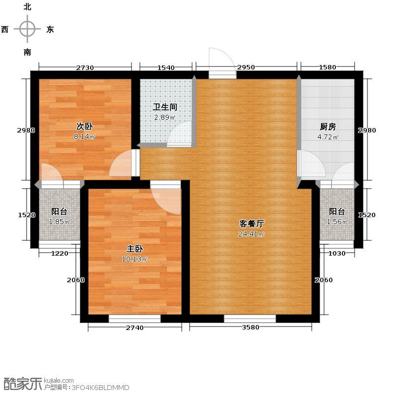 金水湾75.53㎡户型2室2厅1卫