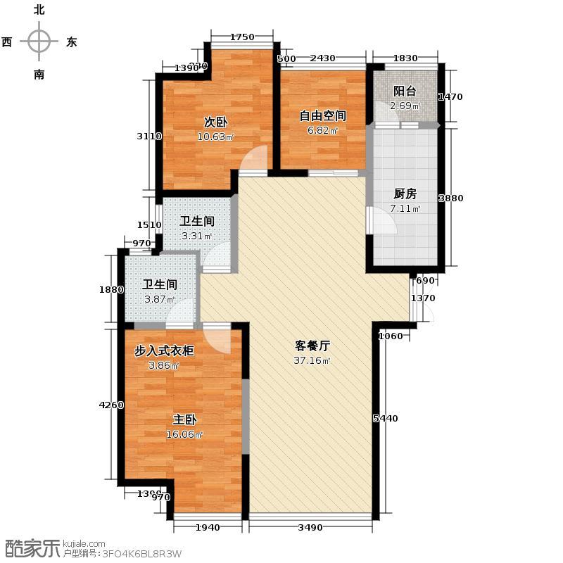 领域佳境117.42㎡I户型3室2厅2卫