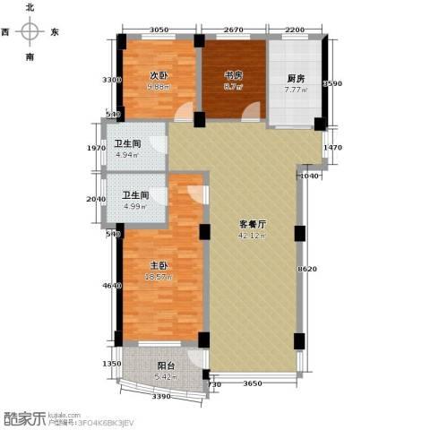 和润公寓3室1厅2卫1厨145.00㎡户型图