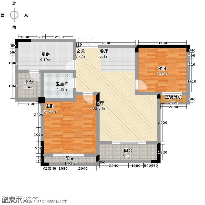 中电颐和家园78.70㎡B2户型2室2厅1卫