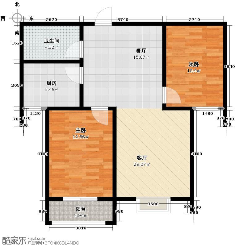 竹境109.60㎡G户型2室2厅1卫