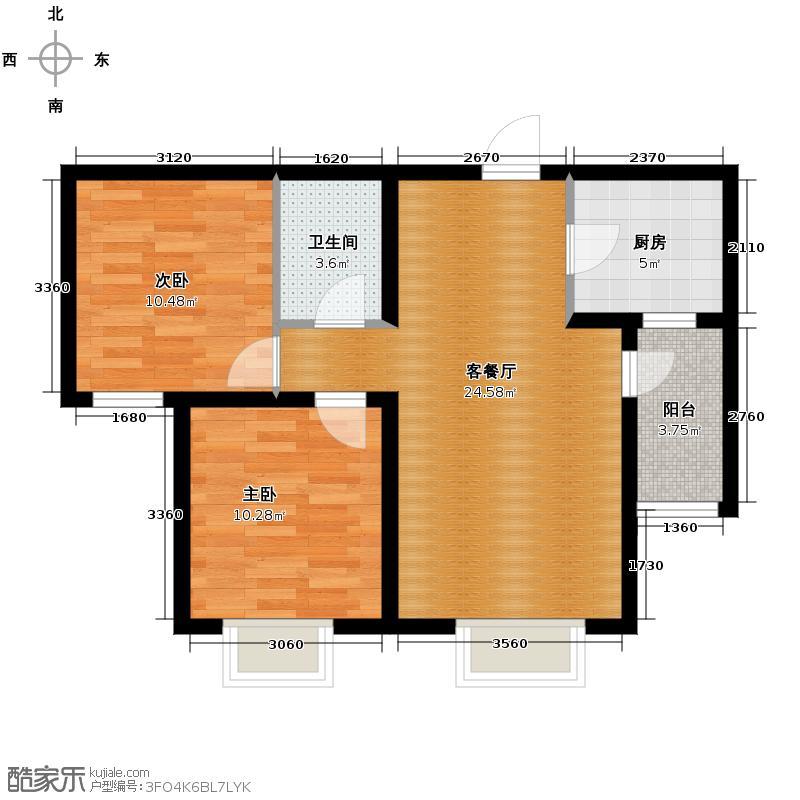 西溪诚园83.93㎡B4户型2室2厅1卫