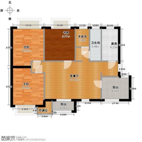 天山熙湖3室2厅1卫0厨101.00㎡户型图