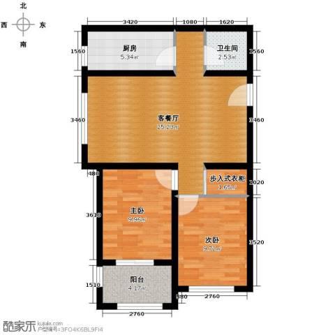 西溪诚园2室2厅1卫0厨89.00㎡户型图