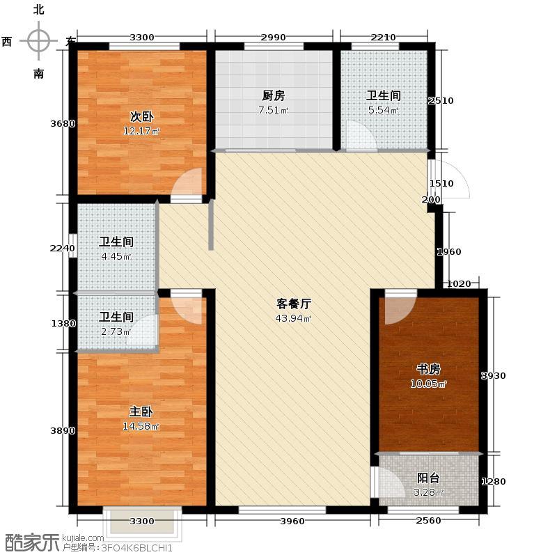翰林天润139.50㎡户型3室2厅2卫