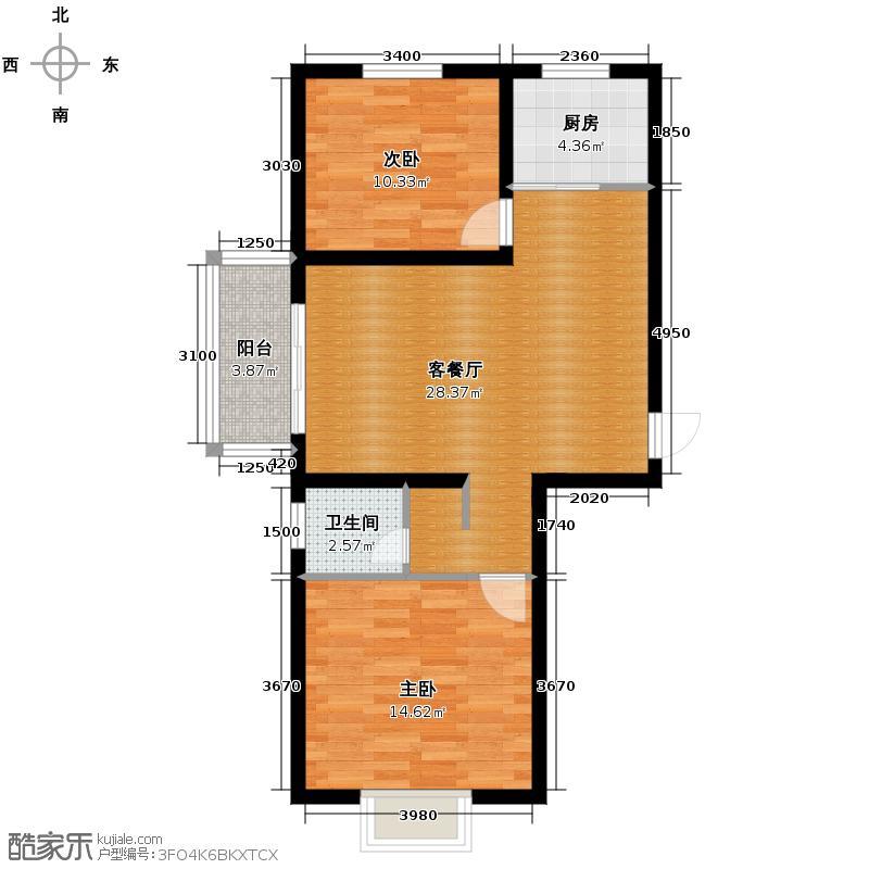云溪湾94.96㎡3号楼A户型2室2厅1卫