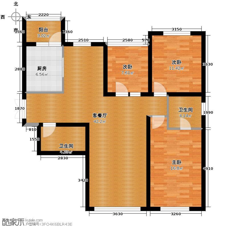 领域佳境132.46㎡3号楼和4号楼H户型3室2厅2卫