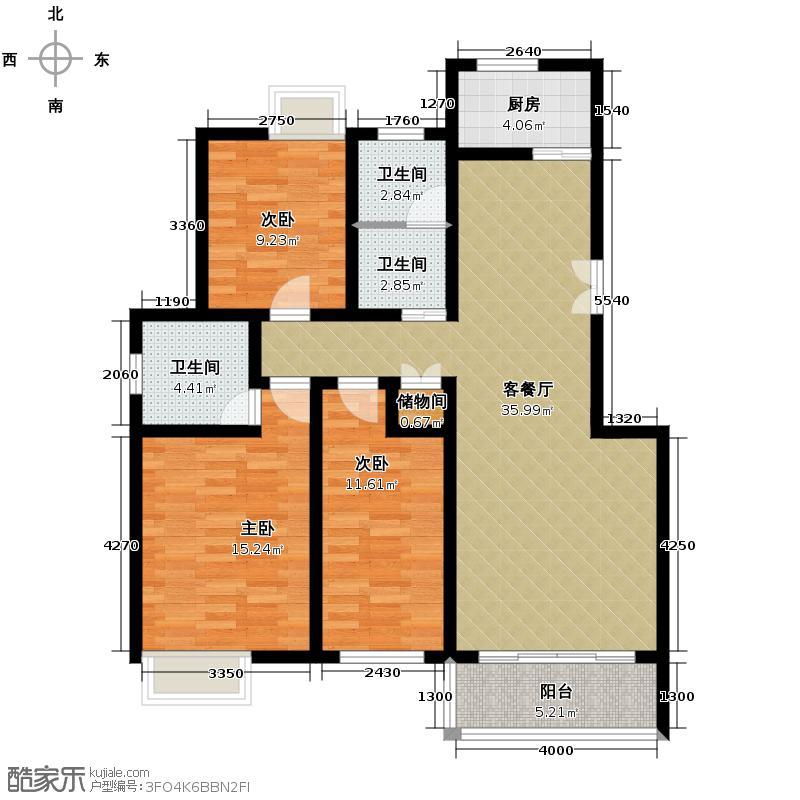 晟地丽江129.19㎡3号楼B1户型3室2厅2卫