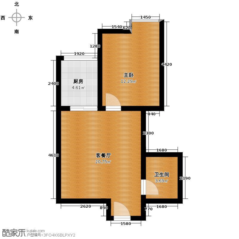 领汇双河湾62.62㎡B2号楼8户型1室1厅1卫