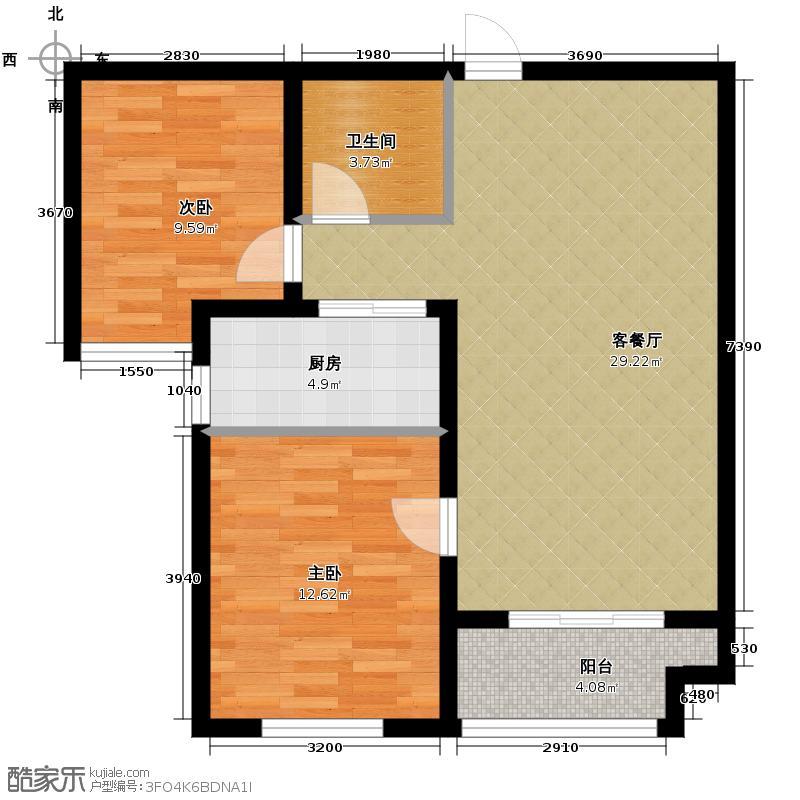 中基碧域91.98㎡9号楼B3户型2室1厅1卫1厨