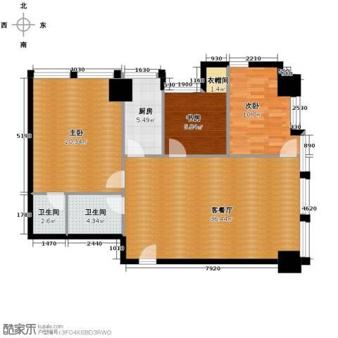 中基国际公馆3室2厅2卫0厨139.00㎡户型图