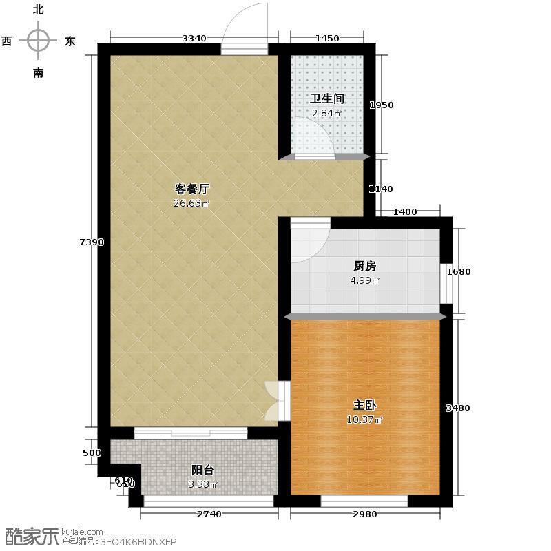 中基碧域69.00㎡5号楼b-2户型1室1厅1卫1厨