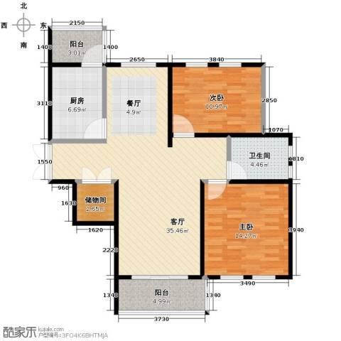 金域蓝城2室1厅1卫1厨82.49㎡户型图