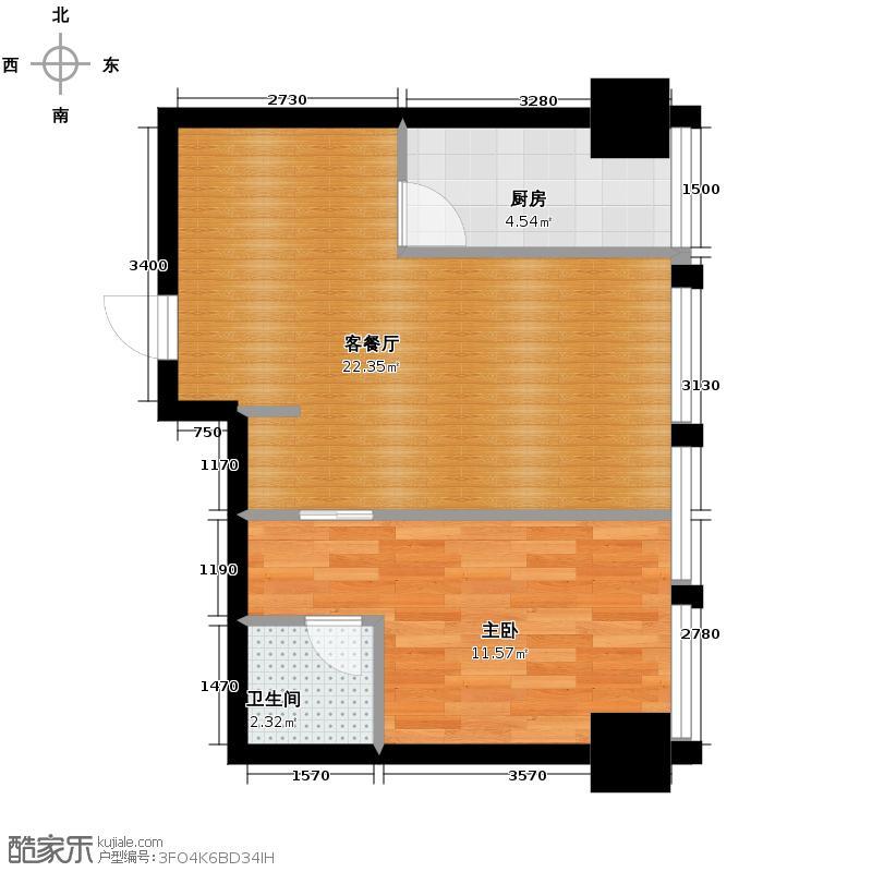 中基国际公馆66.12㎡F户型1室2厅1卫