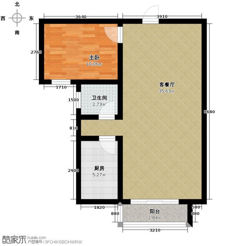 天润家园71.68㎡16号楼3单元B户型1室2厅1卫
