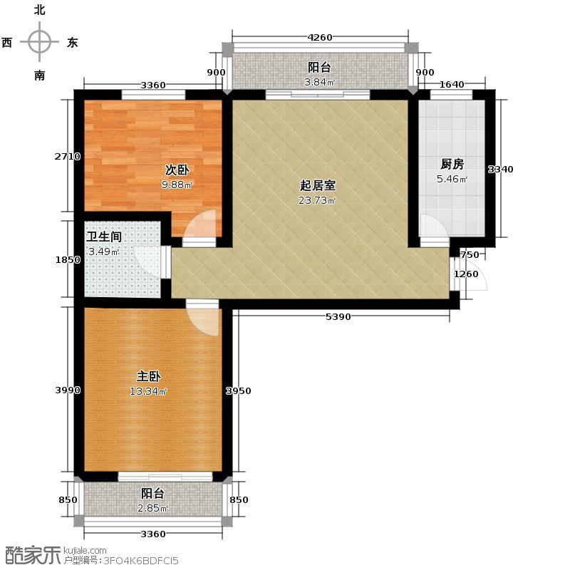 天润家园94.30㎡9号楼1单元A户型2室1厅1卫