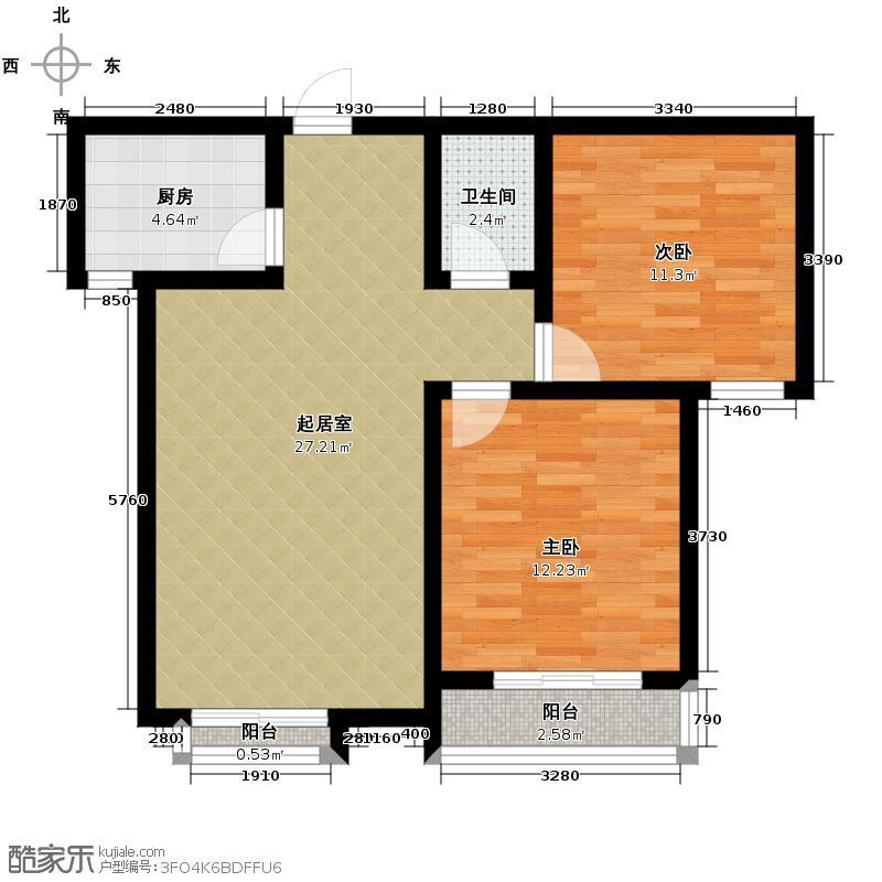 天润家园91.12㎡9号楼1单元B户型2室2厅1卫