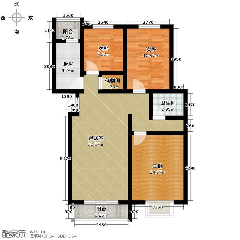 天润家园119.44㎡11号楼2单元D户型3室1厅1卫