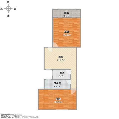 古宋小区2室1厅1卫1厨107.00㎡户型图